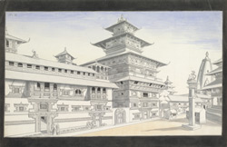 The palace at Patan, with the chief Taleju temple, and the pillar portrait of Yoganarendra Malla